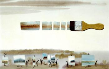 Pinsel am Himmel, Feder, Aquarell, 1985